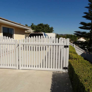 White Routed Picket Double Drive Gate