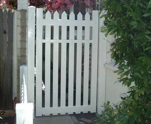 White Straight Picket Gate
