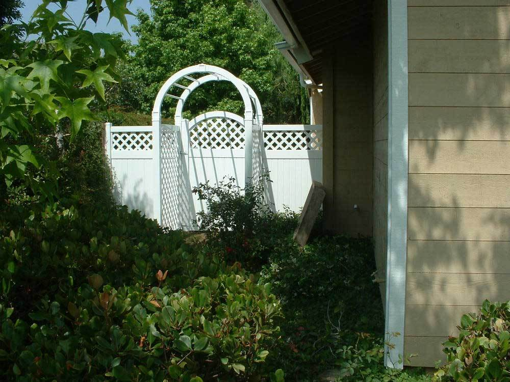 White Arbor with Fence & Lattice