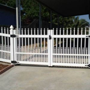 White Ornamental Straight Picket Double Gate