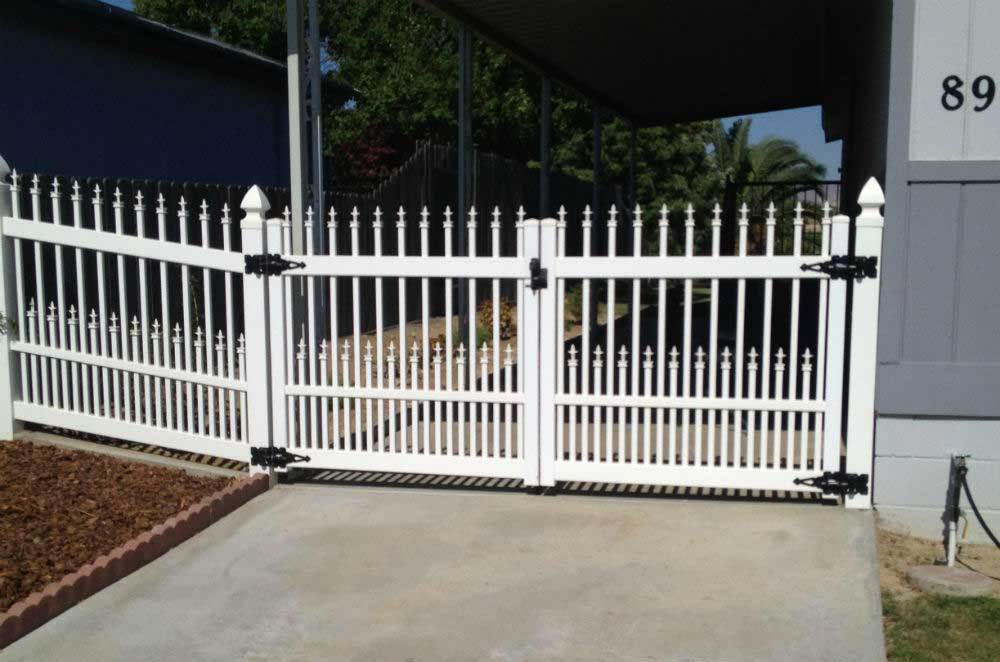 White Ornamental Straight Picket Double Gate
