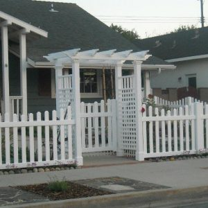 White Vinyl Arbor w Scalloped Fence