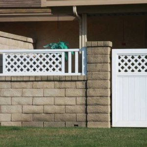 White Solid Privacy Gate with Lattice Top