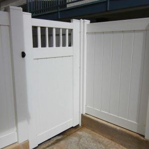 White Solid Privacy Gate with Straight Closed Picket Top
