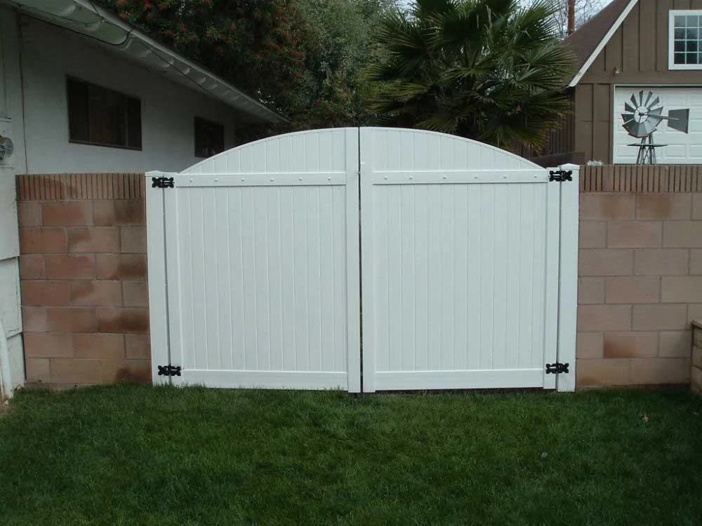 White Solid Privacy Double Arched Gate