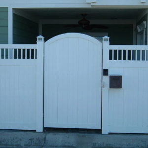 White Solid Privacy Gate Arched