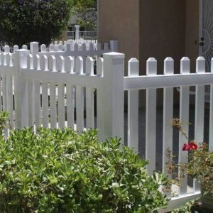 White Vinyl Face ounted Straight Picket Fencing