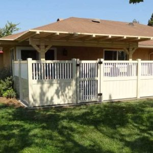 Tan Vinyl Privacy with Closed Picket Top and Gate