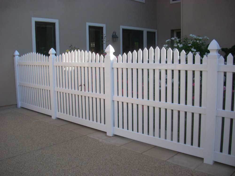 White Vinyl Routed Arched Picket Fencing