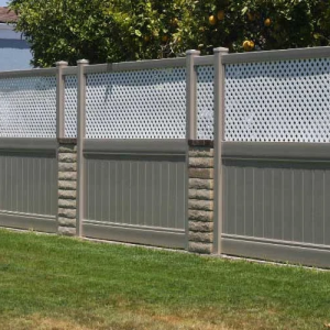 Khaki Solid Vinyl Privacy Fencing with White Lattice Top