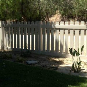 Tan Vinyl Straight Picket Fencing