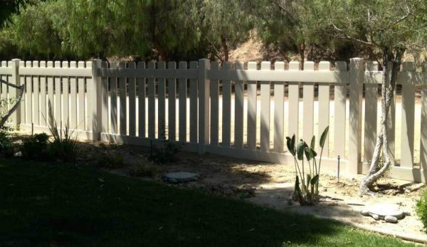 Tan Vinyl Straight Picket Fencing